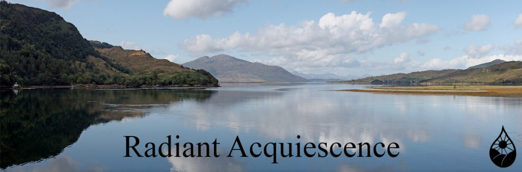 Radiant Acquiescence Website - Virtues - Acceptance - picture of large body of water with background mountains and sky reflected on the water and the caption Radiant Acquiescence